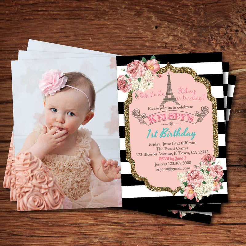 Elegant 1st first birthday invitation. Pink and gold black