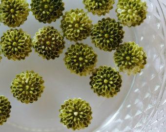 Green cabochon flower scrapbooking
