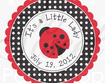 Ladybug Party Favor Stickers, Thank You Stickers, Party Favors, Baby Shower, Birthday Party Decorations, Personalized Stickers - Set of 24