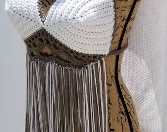 Fringe Queen Halter Top, summer top, bohemian style, crochet crop top, fringe top, cover up, women's fashion