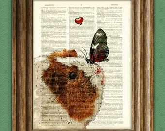 Winnie makes a new friend GUINEA PIG with butterfly Art Print Cavy beautifully upcycled vintage dictionary page book art print altered