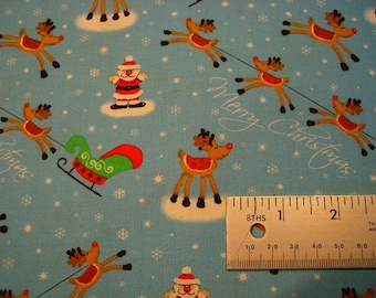 "One Fat Quarter Cut Quilt Fabric, ""Christmas Mini's"" Santa, Sleigh & Reindeer, Ho Ho Ho on Blue, Sewing-Quilting-Craft Supplies"