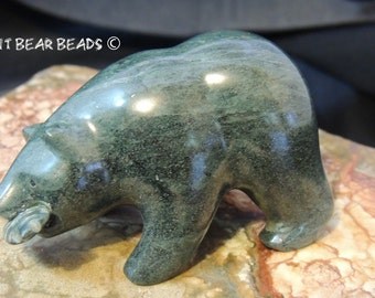 Jade Grizzly Bear with Fish Fetish Nephrite Jade from Sweden