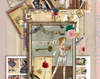 Digital Download Curious Steampunk Journal Kit PLUS bonus Collage Sheet