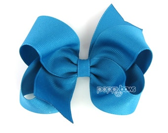 Turquoise Hair Bow - Baby Toddler Girl - Solid Color 4 Inch Boutique Bow on Alligator Clip Teal Hairbow