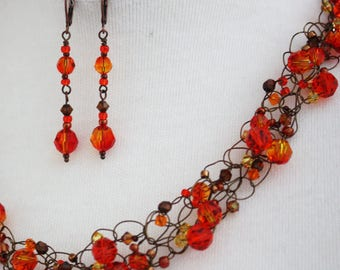Necklace & Earring Set Swarovski Fire Opal
