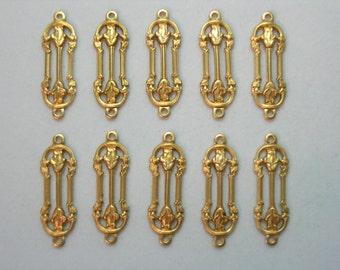 Raw Brass Victorian Earring Findings Drops Dangles - 10