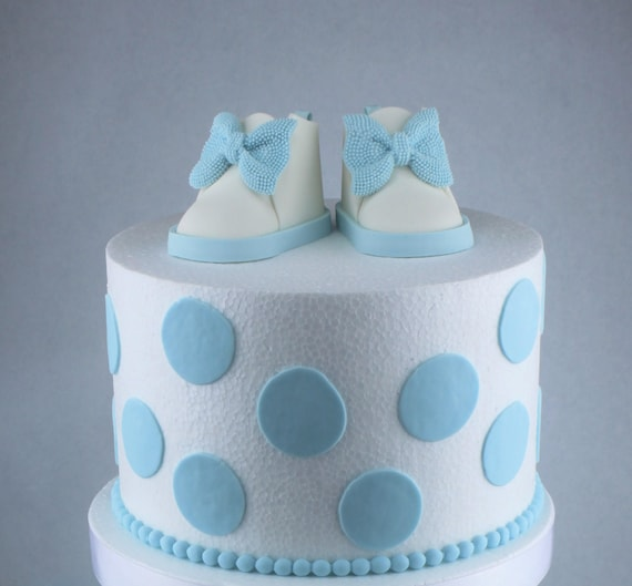 Creative Converting 1st Birthday Boy Cake Topper Blue: Fondant Baby Shoes Cake Topper