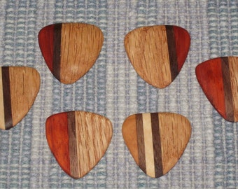 Two(2) Handmade wooden Guitar Picks hand carved beautiful hardwood.