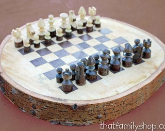 Log Chess Set, Hand-Turned Branch Pieces 32 Chess Checkers, Log Slice Game Board with Bark Wood
