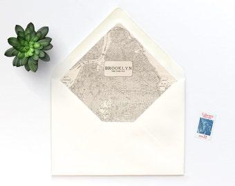 Brooklyn Vintage Map A7 Envelope Liner