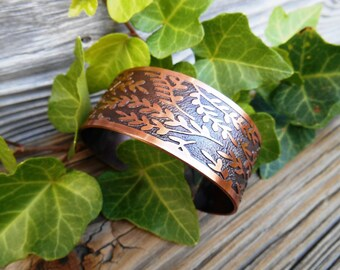Copper Bracelet Cuff, Etched Copper Cuff, Nature Inspired Cuff, Copper Jewelry, Sealed Copper, Gift for Mom, Handmade Gift, Ready to Ship