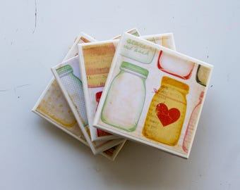 Mason Jar Coaster Set