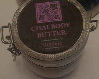 Organic Body Butter  - CHAI - Shea, Cocoa, Mango & Avocado butter with Hemp Seed Oil and Essential oils // Mothers Day gift