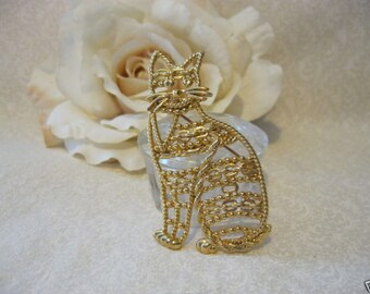 Vintage Gold Open Fillagree Cat Brooch Pin Signed AJC