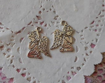 Metal charms silver Angels 2.20 cm in height (with 2 Angels).