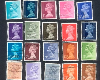 20 Queen, 1960's Postage Stamps - Collage, Crafts, Decoupage, Mixed Media, ATC