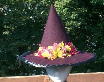 purple felted wool witch's hat