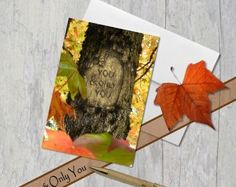 You & Only You, Digital tree carving with message, Fall Scene, Card, 5th Anniversary, Under 5 Dollars, Colored Leaves, Husband, Wife