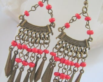 BRASS and RED Bead Dangle Earrings for Pierced Ears