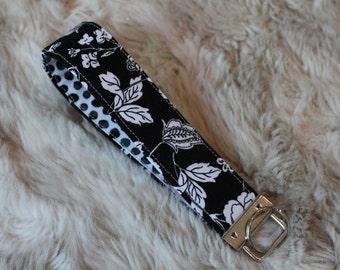 Floral Black and White Polka Dot Key Fob- Women's Key chain- Key Lanyard- Wristlet Key Fob- Women's Gift for Her Under 10