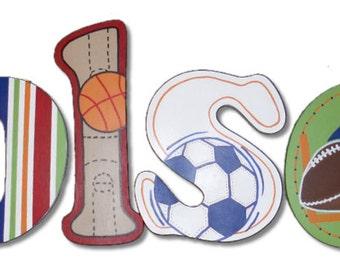 Sports Star Jr Varsity Custom Hand Painted Wood Wooden Nursery Hanging Wall Letters