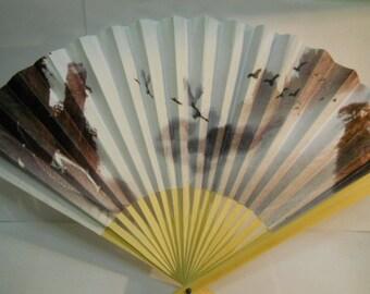 Birds with Mountain Sky Scene Folding Hand Fan #98