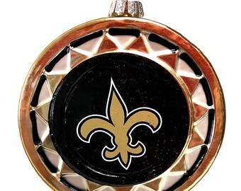 "4"" New Orleans Saints Hand blown Glass ornament"