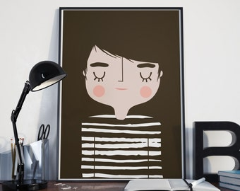 Boy Art Print | Boys Bedroom | Poster | A4 Giclee Print Cute Nursery Kids Wall Art Boyfriend Decor