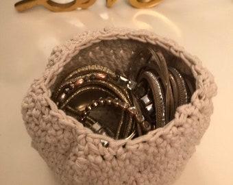 Small crocheted handmade basket