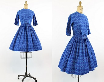 50s Cotton Dress XS / 1950s Vintage Dress Novelty Print Full Skirt / Sailing Blue Dress