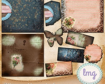 Vintage Memories Digital Scrapbook Journal Papers, Junk Journaling Papers, Travelers Notebook Journal, Instant Download, Commercial Use