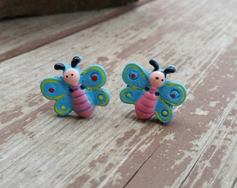 Pink and Blue Wooden Button Clip on Earrings - colorful womens earrings - Spring Butterflies - Gift Ideas