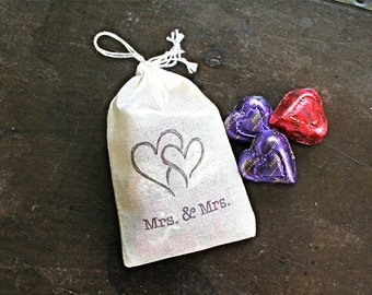 Wedding favor bags, set of 50 hand stamped cotton favor bags, Mrs and Mrs, lesbian, gay wedding, party favor bags, bridal shower favor bags