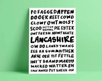 Lancashire Twang Print - Hand Lettered