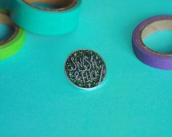 LIMITED EDITION Swish & Flick glitter enamel lapel pin | hat badge wizard magic
