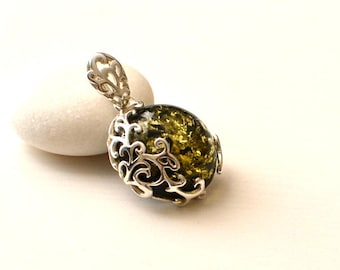 Amber jewelry etsy green amber necklace amber pendant amber jewellery amber jewelry gift jewelry mozeypictures Choice Image