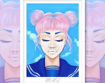 Pink Haired Sailor Girl A4 Giclee Print.