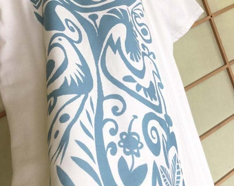 Blue Birds - V-neck T-shirt , exclusive design– handmade in Hawaii
