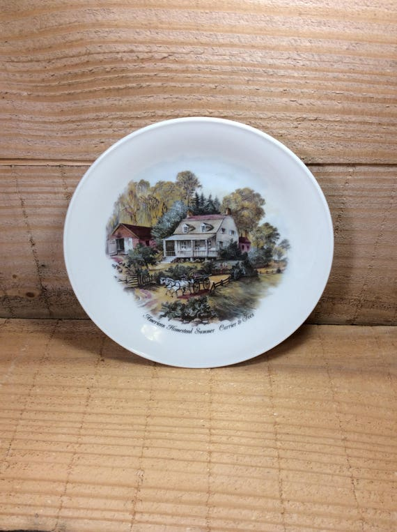 Vintage collectible plates, Seltmann Weiden Bavaria W. Germany, American Homestead Summer Currier and Ives, collectors plates