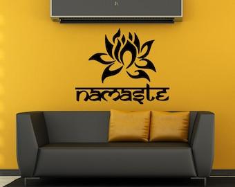 Wall Decal Indian Yoga Namaste Words Lotus Flower Buddha Ganesha Mandala Bedroom Livingroom Mural Art