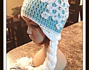 Crochet Frozen Elsa Hat with Braid
