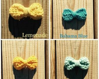Set of Four Crochet Hair Bows in Morning Breeze Toddler Girl Women