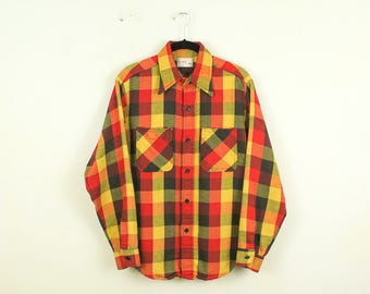 Vintage 1970s Big Mac J C Penney Plaid Shirt / Medium / Outdoors / Hunting / Camping / Red / Yellow / Hunter / Woods / Man's / Flannel / 15
