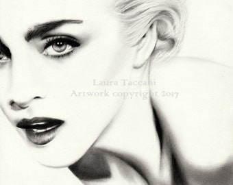 Ritratto di Madonna - Stampa d'arte firmata da disegno originale in grafite