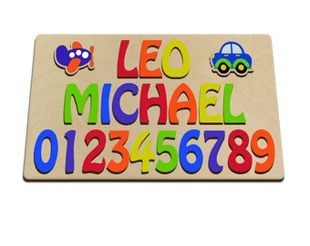 Wooden Educational Toys for Toddlers Two Names & Number Puzzle With Car And Plane 491262458