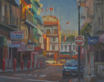 Chinatown - San Francisco - California - City - Urban - Pagoda - Asian - Plein Air - Landscape - Cityscape - Original Oil Painting - Norcal