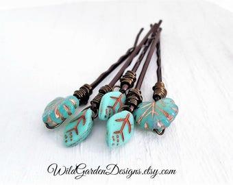 Turquoise Boho Hair Pins Leaf Hair Pins Wedding Hair Accessories Gift For Her Set of Hair Pins Bohemian Woodland Decorative Bobby Pins