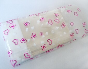 50pcs Printed Hearts Crystal Clear Resealable Cello Poly Bag Envelope 3 15/16 X 5 7/8 and1 5/8(flap)(100mm X 150mm and 40mm)  2colors