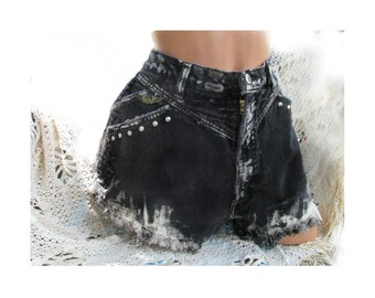 Black denim shorts - Acid washed shorts,high wasted shorts, studded shorts, grunge shorts,  size 16,  #18